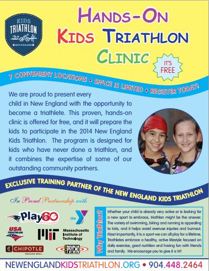 Free Kids Triathlon Clinics in Massachusetts this June!