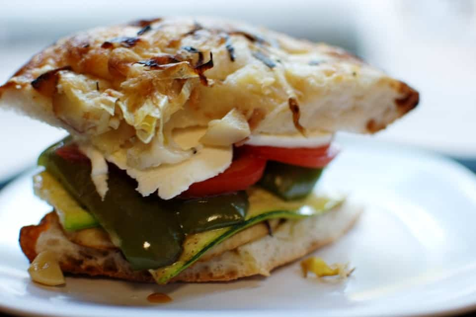 Roasted Vegetable Sandwich on Focaccia Bread