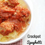 Crockpot spaghetti squash and meatballs makes a healthy & tasty family dinner! Slow cooker for the win.