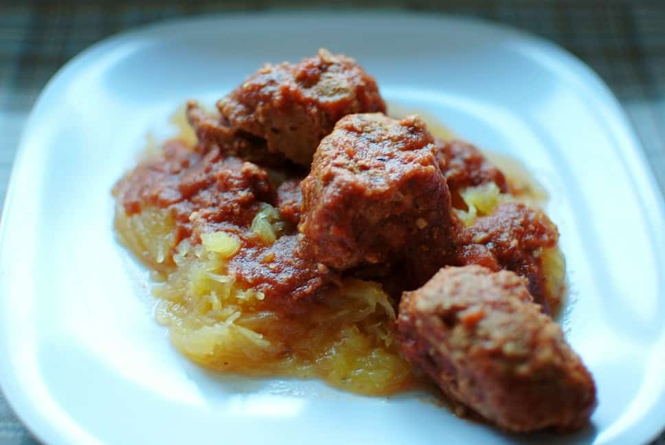 Crockpot Spaghetti Squash and Meatballs