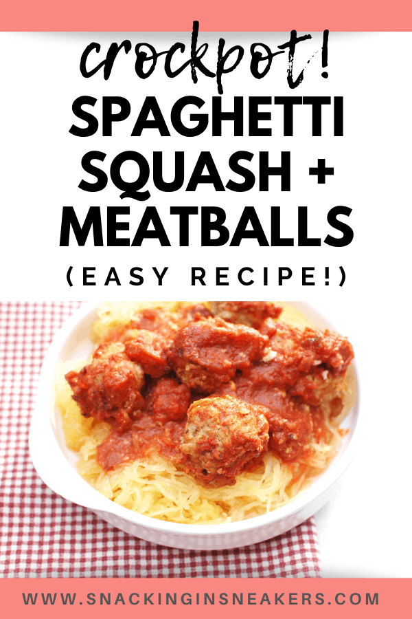 a bowl full of crockpot spaghetti squash and meatballs