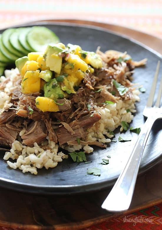 Slow Cooker Jerk Pork with Carribean Salsa