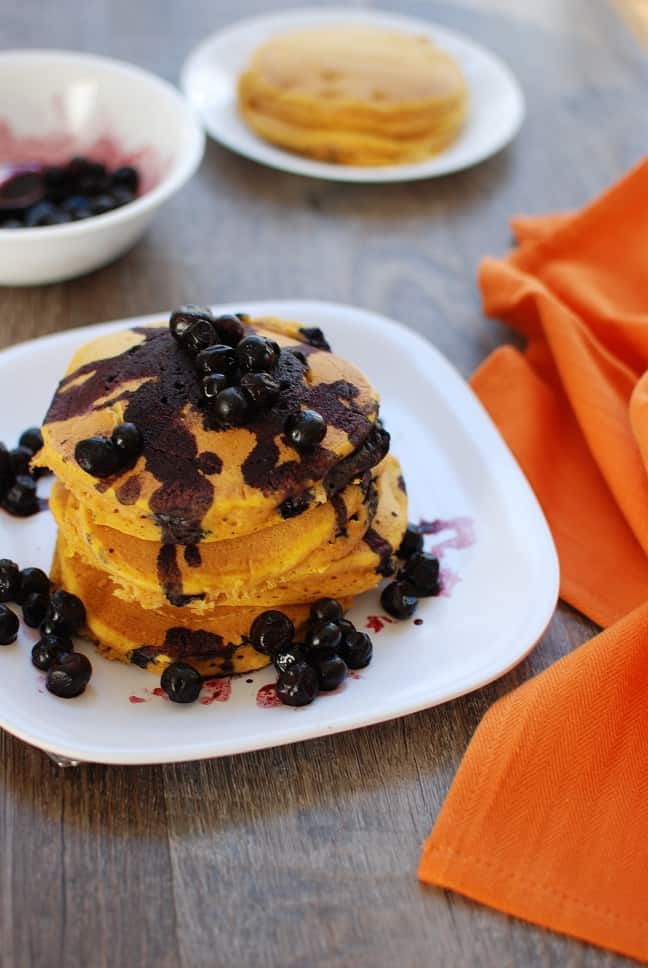 "Healthy Whole Wheat Pumpkin Pancakes with Blueberry ""Syrup"" - Snack..."