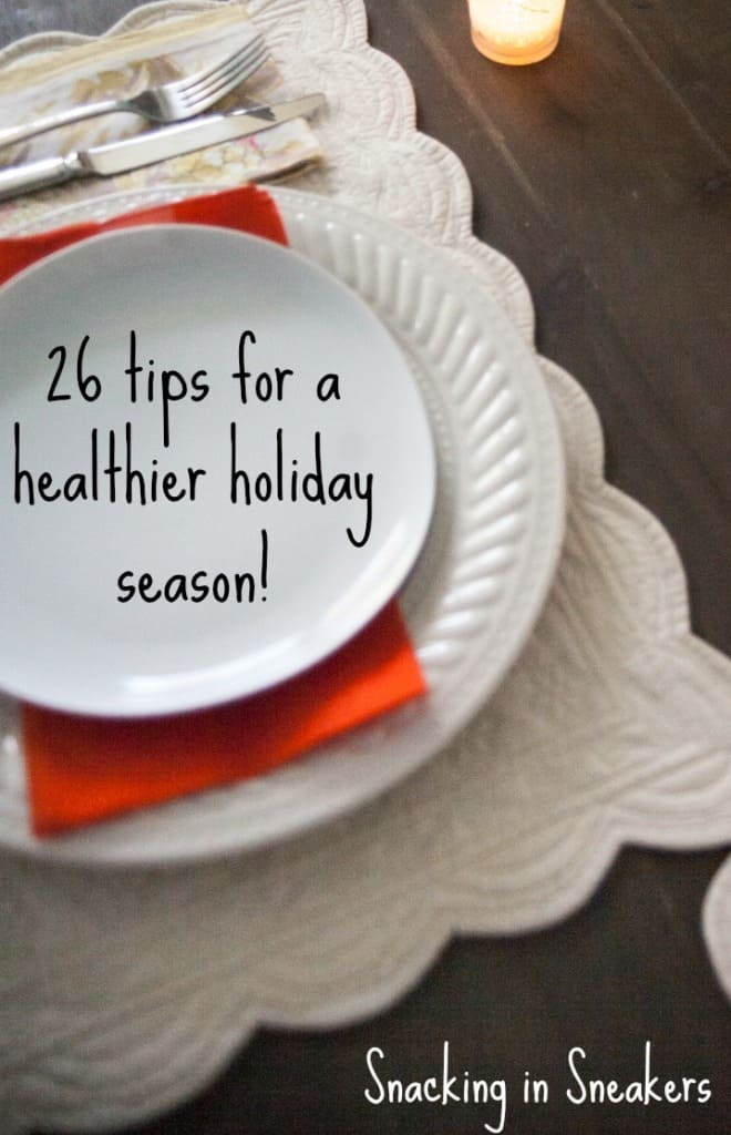 A holiday place setting with a text overlay about tips for a healthier holiday season