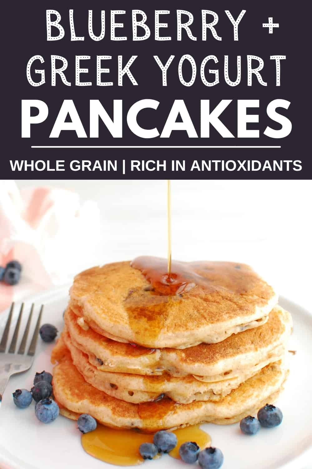 A stack of blueberry yogurt pancakes with syrup being drizzled on top.
