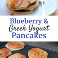 Blueberry greek yogurt pancakes on a griddle and on a plate