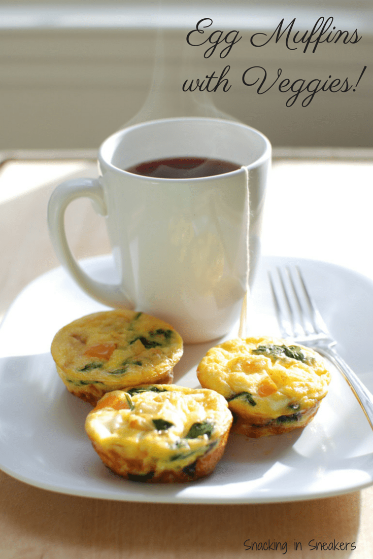 Meal Prep Veggie Egg Muffins on a Plate with a Cup of Tea