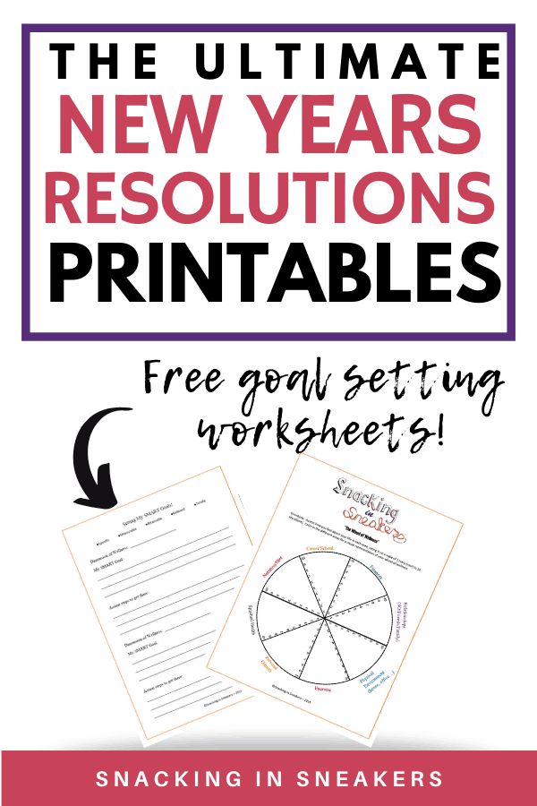 New years resolutions goal setting printables