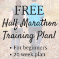 "Runners with text overlay about 20 week half marathon training schedule for beginners. Kind of like the ""Couch to Half Marathon"" version of plans for new runners training for their first half marathon."