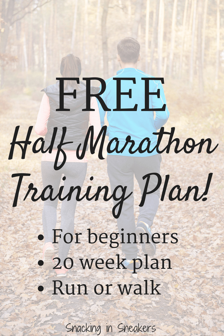 Runners with text overlay about 20 week half marathon training schedule for beginners. Kind of like the