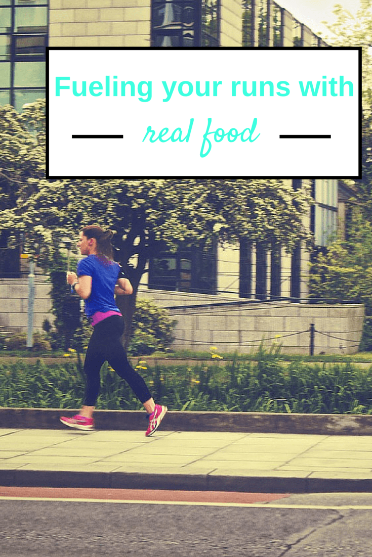 A photo of a female runner outside with a text overlay about fueling runs with real food