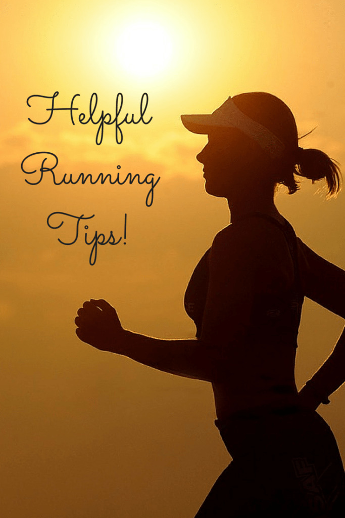 A female running at sunrise with a text overlay about helpful running tips