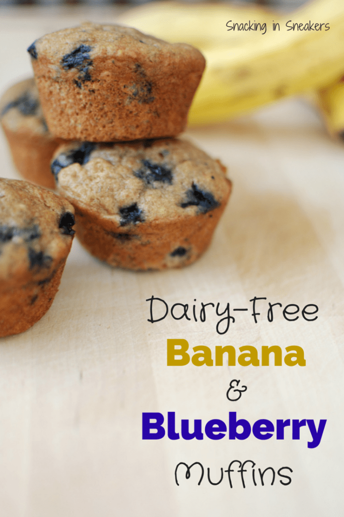 Dairy Free Whole Wheat Banana Blueberry Muffins