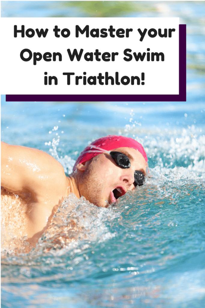 A man doing an open water swim practicing for a triathlon
