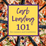 a large pizza with a text overlay about carb loading 101