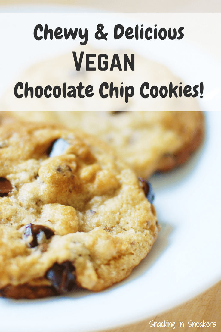 Dairy free chocolate chip cookies on a plate with a text overlay that says vegan cookies