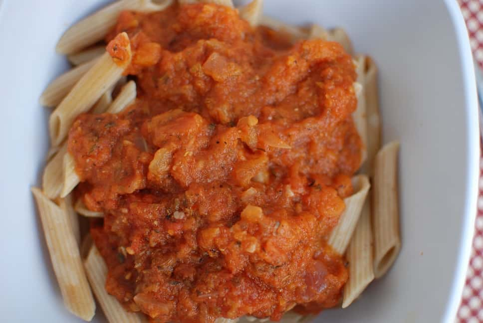 Homemade Vegetarian Pasta Sauce over whole wheat pasta in a bowl