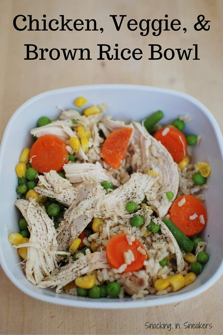 Chicken Veggie and Brown Rice Bowl! A cheap and easy healthy dinner, and a great recovery meal for athletes.