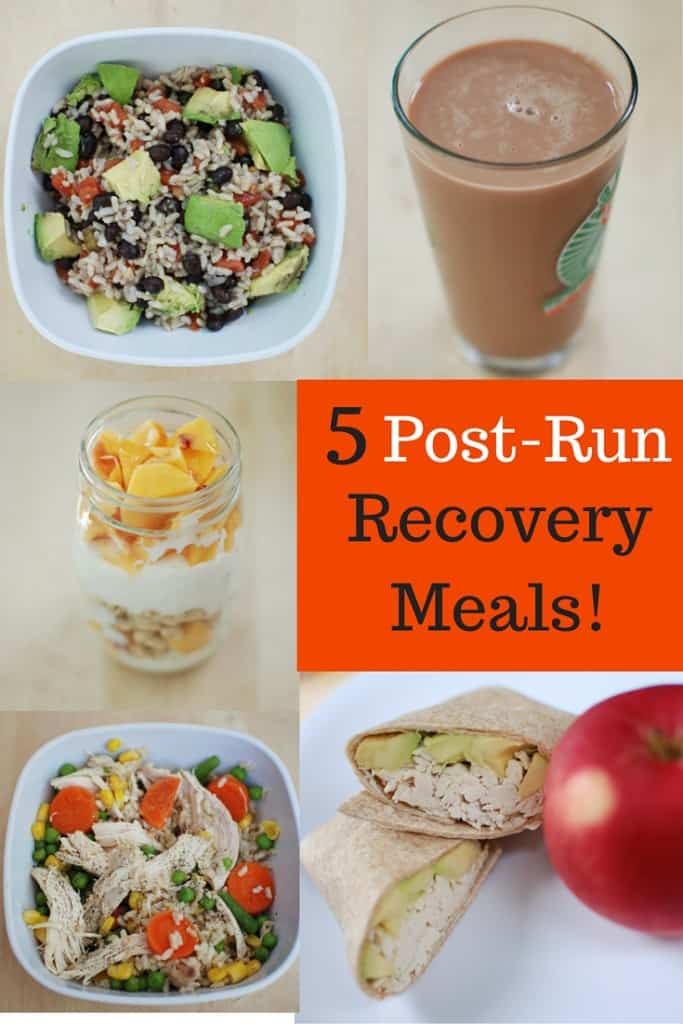 A collage image of several post run recovery meals