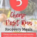 Some eggs and an artichoke with a text overlay about post run meals