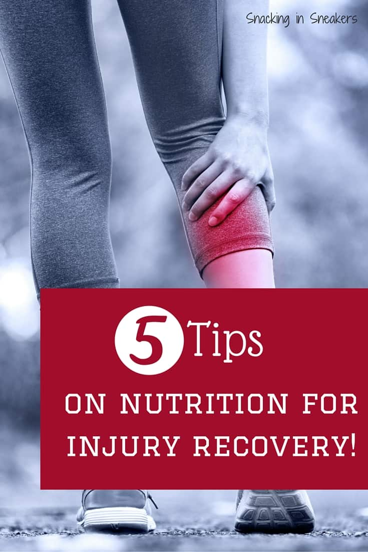 5 tips on nutrition for injury recovery. Great info for anyone struggling with a running or triathlon injury, or any other sport for that matter.