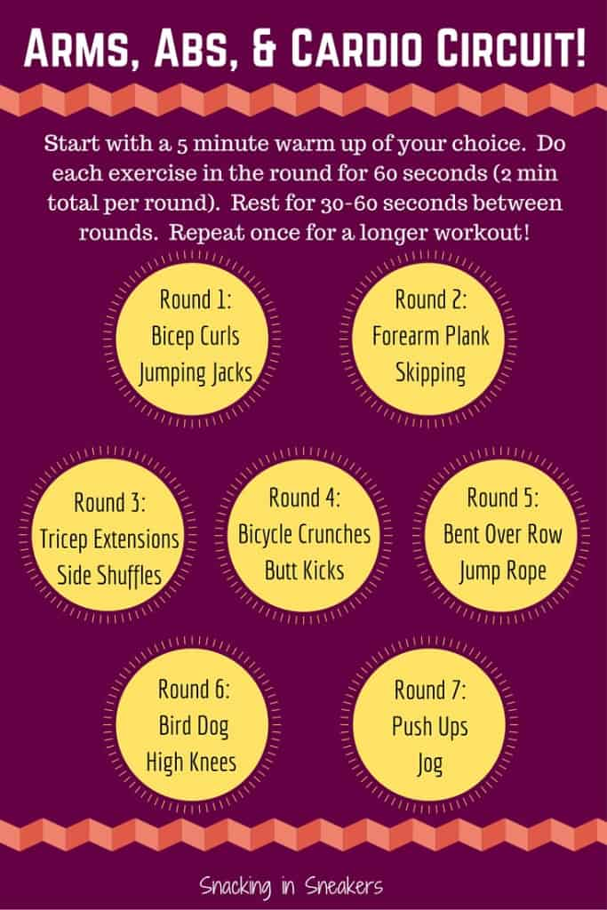 This arms, abs & cardio circuit workout is an equal blend of cardio and strength training for a workout that will get your heart pumping and tone you up!