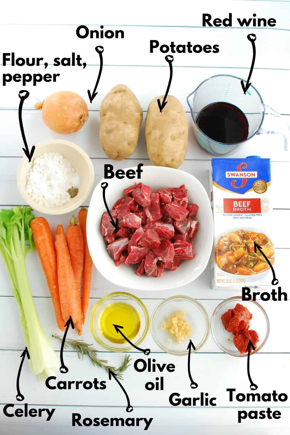 An overhead shot with all the ingredients needed for the recipe.