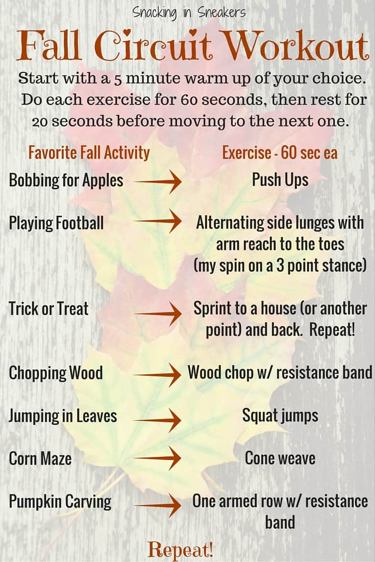 This fall circuit workout is perfect for this time of year! It's about 25 minutes long and will challenge your entire body.