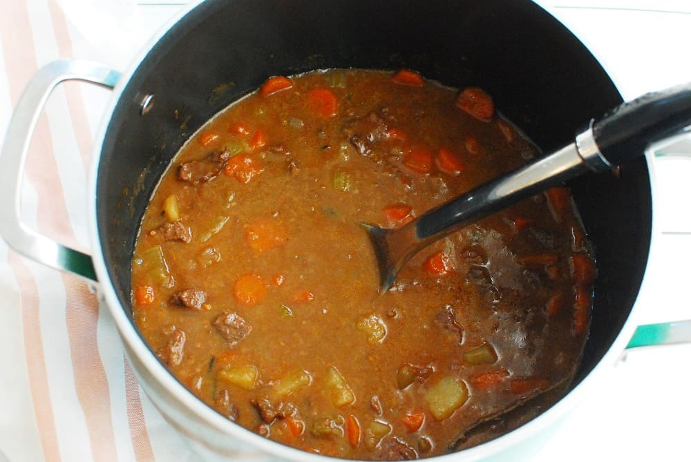 A pot filled with stovetop beef stew.