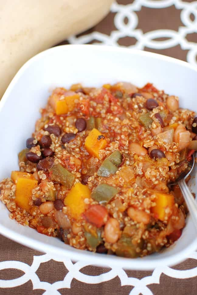 Butternut Squash Chili is a perfect way to use winter squash this season! This meatless recipe is still packed with protein from the beans & quinoa, making it hearty and filling.