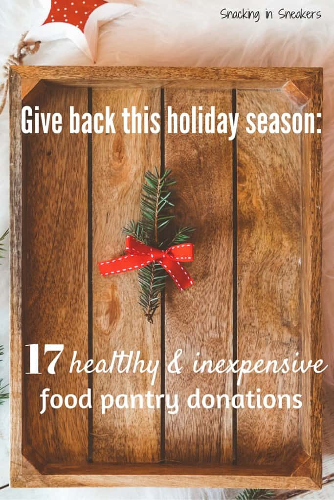 A wooden tray with garland and a text overlay about holiday food pantry donations