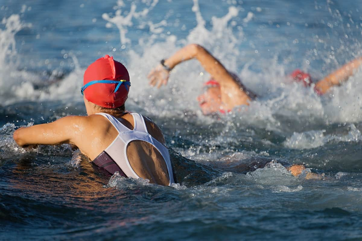 Women swimming in swimsuits in a triathlon race.