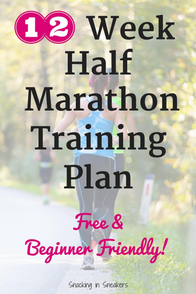 Woman running with text overlay that says 12 week half marathon training plan