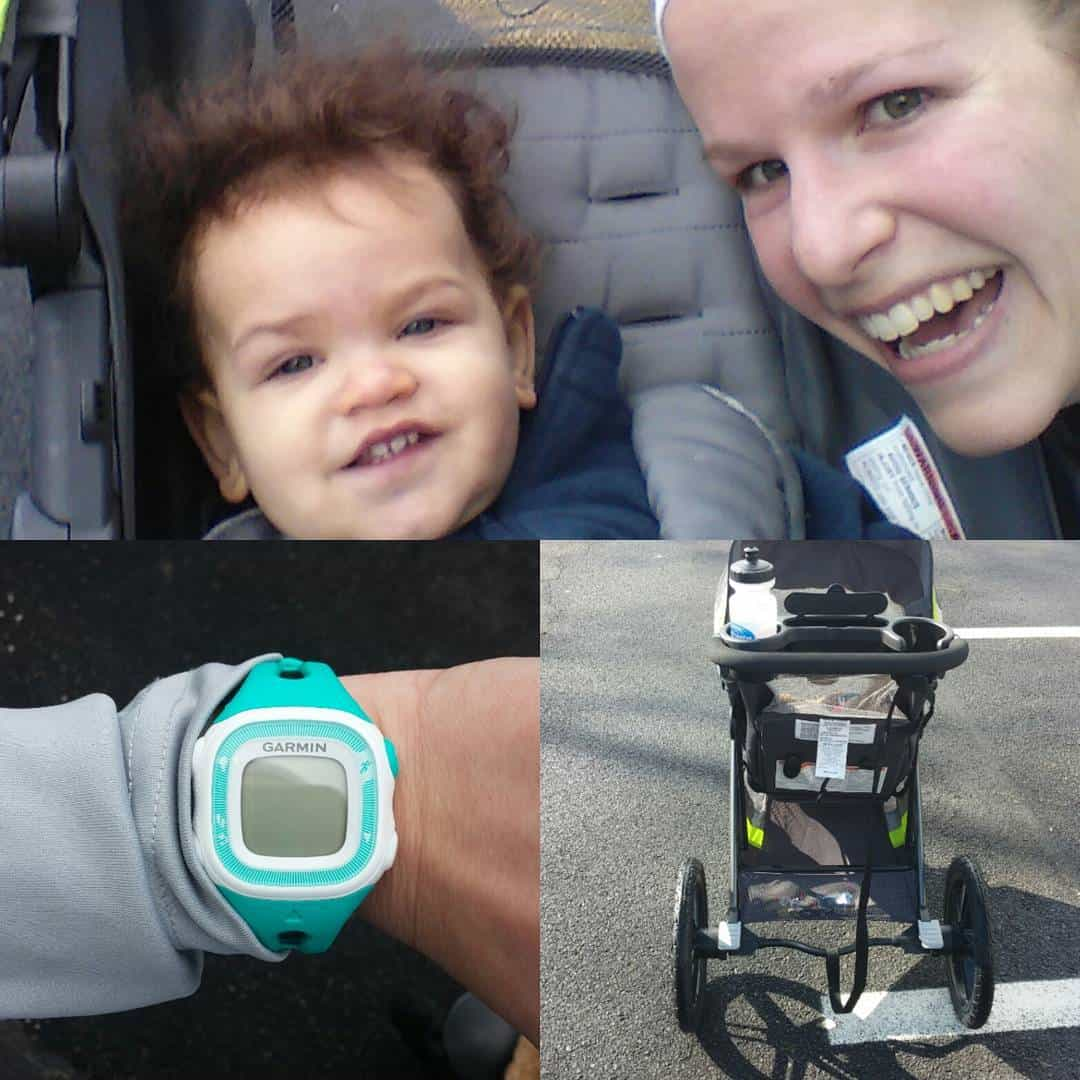 A woman postpartum running with a baby in the jogging stroller