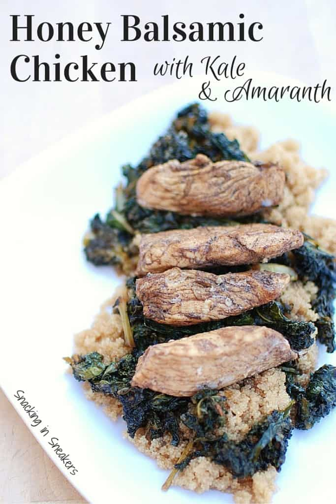 This honey balsamic chicken with kale and amaranth is an amazing quick & balanced meal! A perfect healthy recipe that the whole family will love. {If you don't have amaranth, quinoa works just as well!}