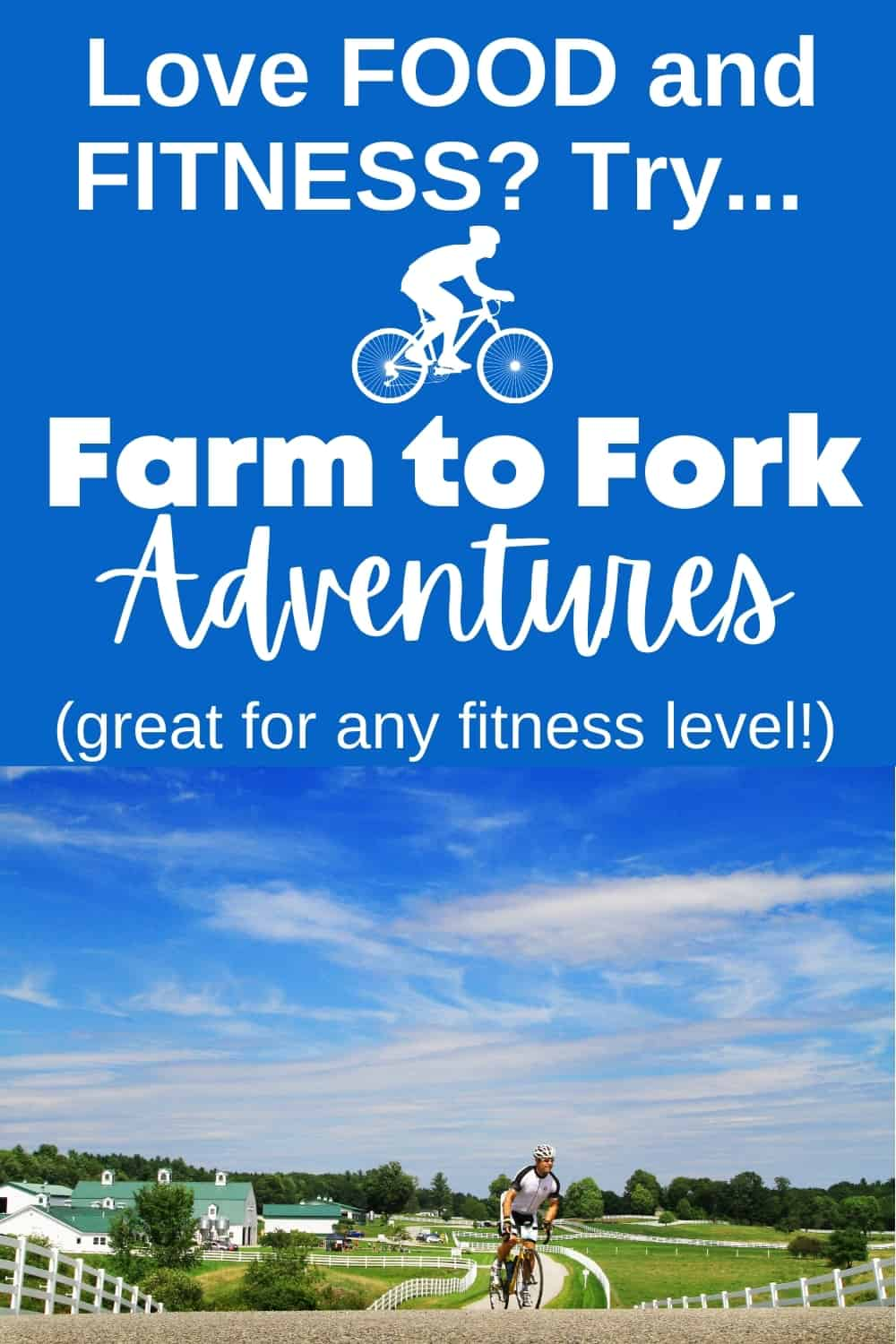 A man riding in a Farm to Fork Fondo race event on a beautiful day.