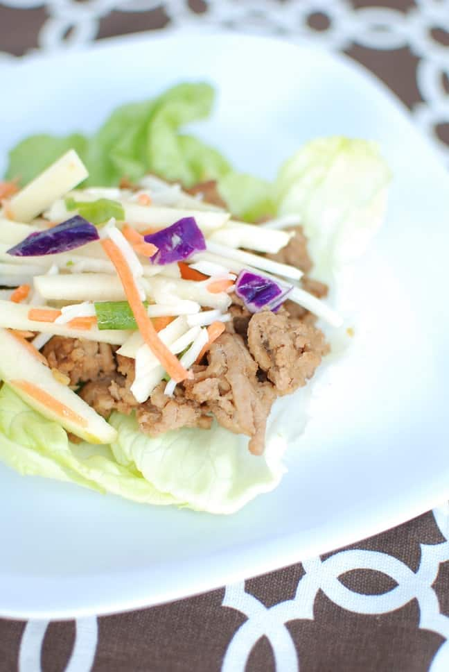 This recipe for thai lettuce wraps with cabbage apple slaw is amazing! Less than 10 ingredients and less than 30 minutes from start to finish. Perfect for a quickly family meal.