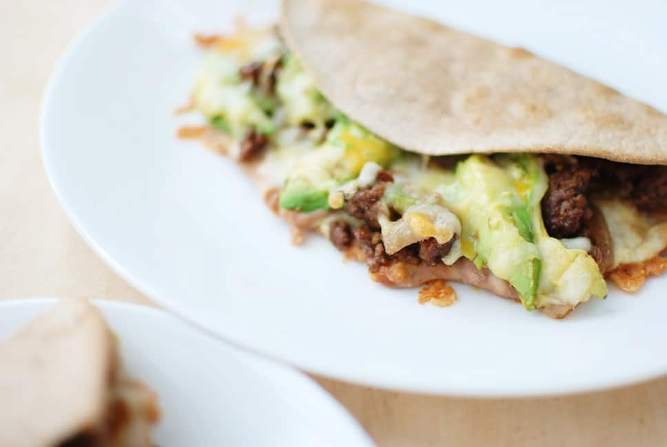 These ground beef quesadillas are perfect for that cheesy comfort food craving in the comfort of your own home. And at just over 400 calories a pop, they can fit in anyone's healthy diet!