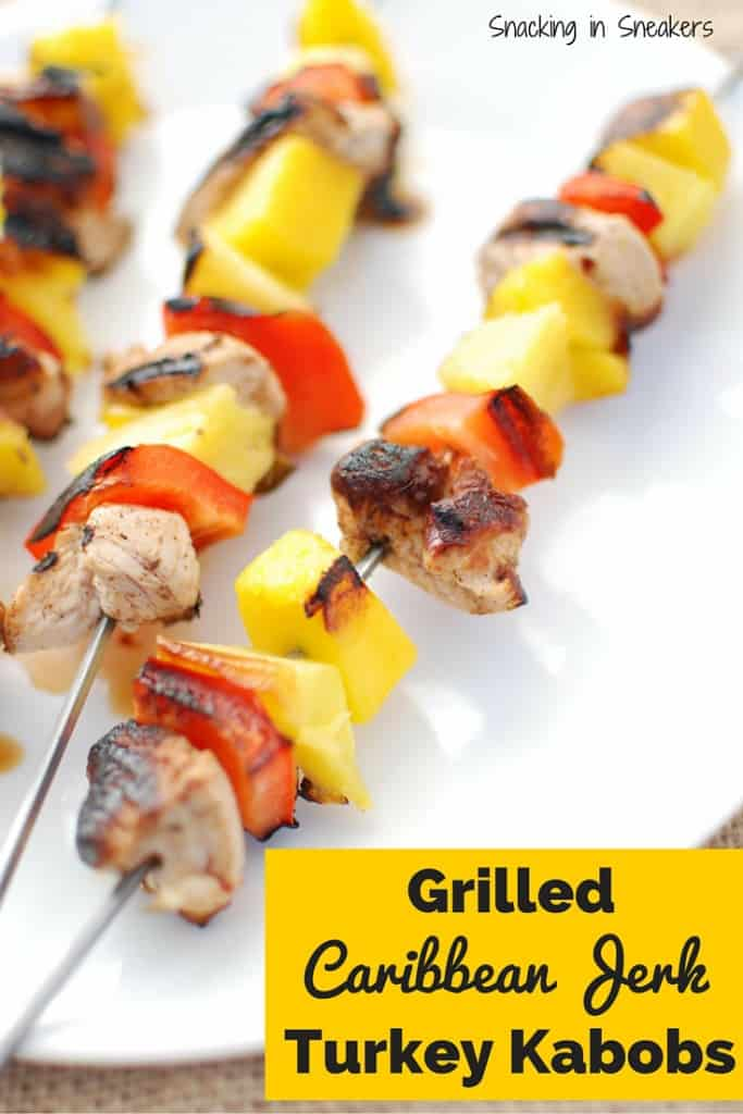 Grilled turkey tenderloin kabobs with peppers and fruit