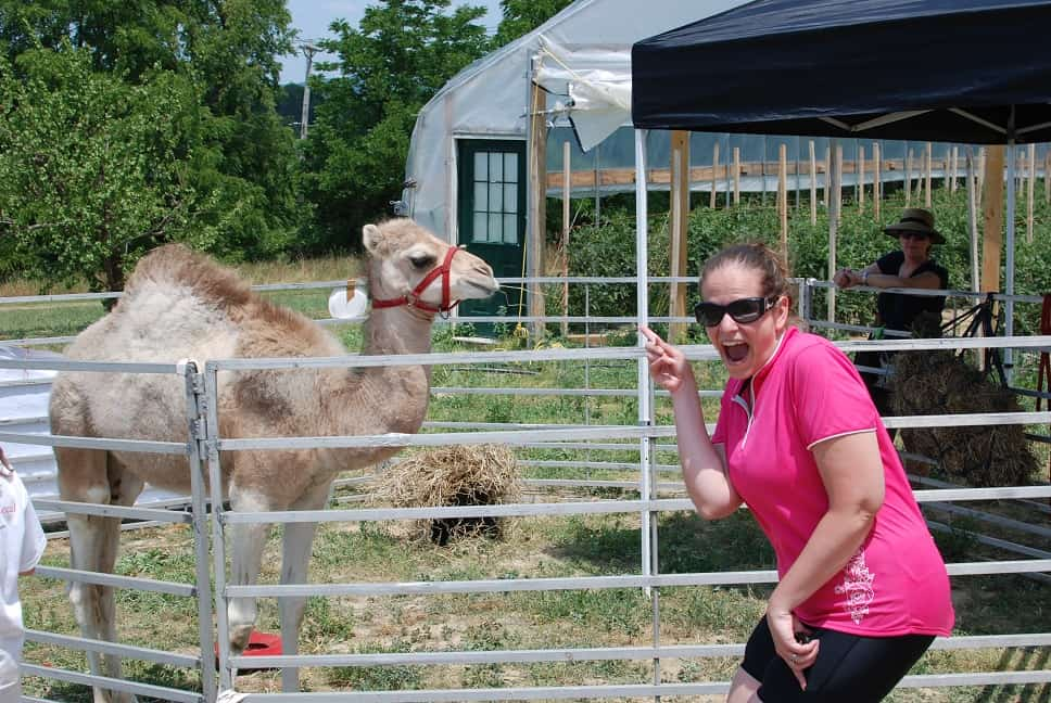 A woman pointing at a camel after riding in a Fark to Fork event.