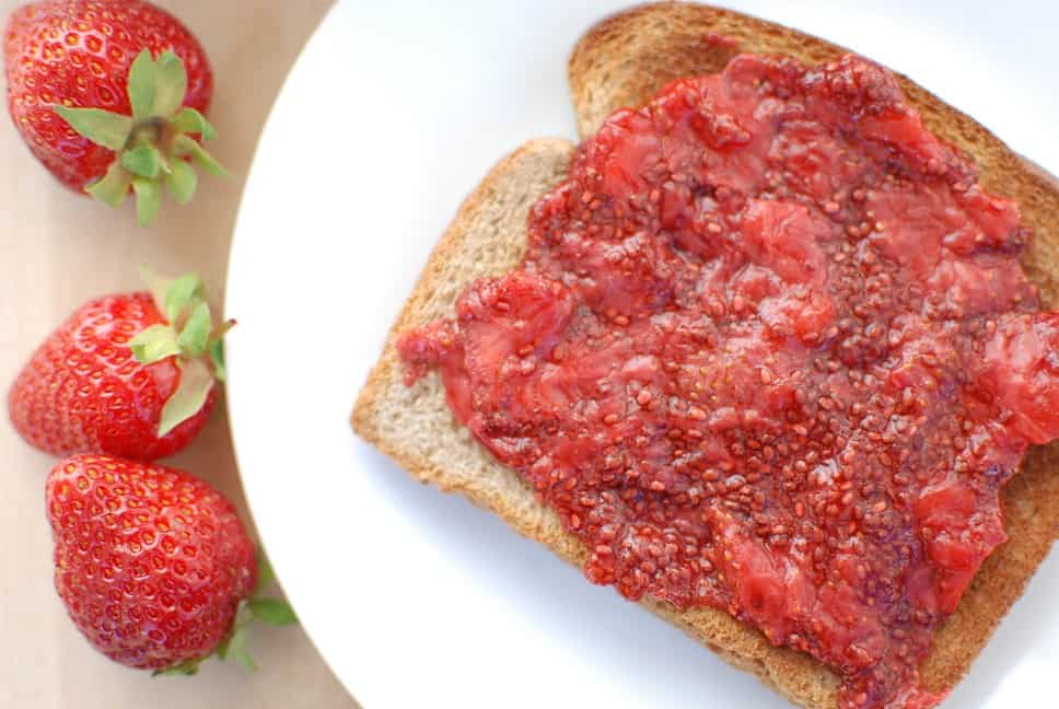 Strawberry Chia Seed jam is healthy and easy to make.