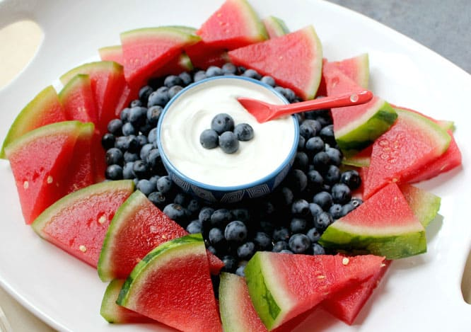 Red White and Blue Fruit Platter with Yogurt Dip
