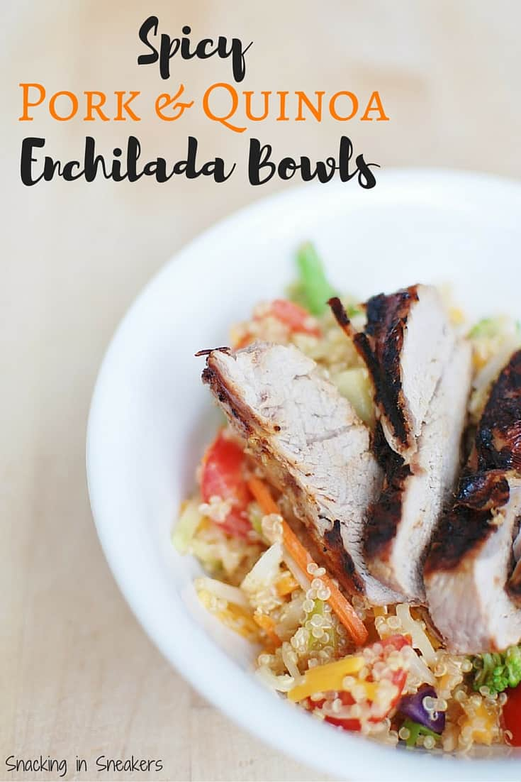 Grilled pork & quinoa enchilada bowls are a perfect summer dish! Full of nutrient-rich vegetables, spicy enchilada sauce and rich cheddar cheese – this recipe is sure to be a winner.