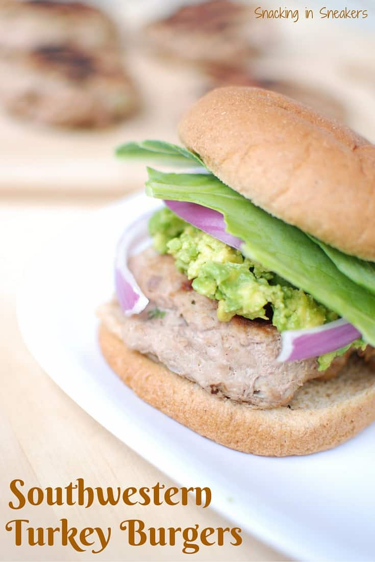 Get the grill going this summer with these southwestern turkey burgers with guacamole! Healthy, perfect for families and athletes alike, and just a few ingredients!