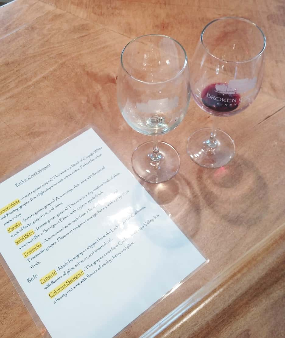 Wine Tasting Broken Creek Vineyard