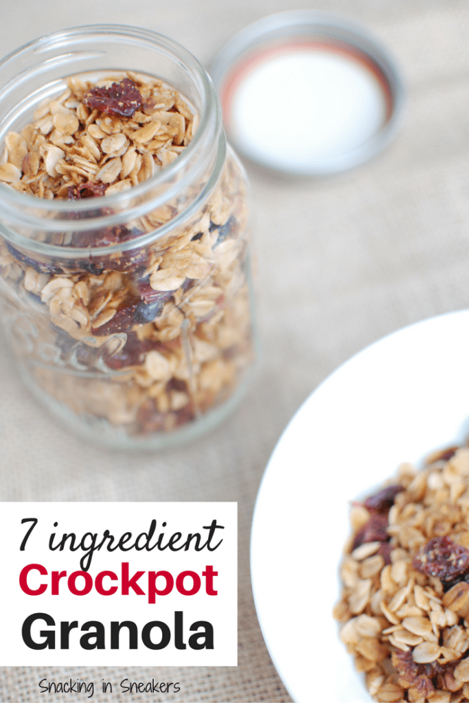 Homemade crockpot granola in a mason jar