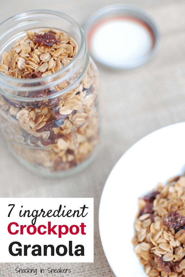 Homemade crockpot granola in a mason jar