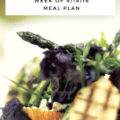 """This week's meal plan focuses on what I tell my clients – include a mix of """"new"""" and """"tried and true"""" recipes. I've got easy go-to recipes like stir fry and pasta with meat sauce, but some more creative new recipes like coconut shrimp curry and buffalo chicken stuffed sweet potatoes."""