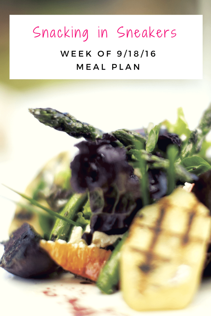 "This week's meal plan focuses on what I tell my clients – include a mix of ""new"" and ""tried and true"" recipes. I've got easy go-to recipes like stir fry and pasta with meat sauce, but some more creative new recipes like coconut shrimp curry and buffalo chicken stuffed sweet potatoes."