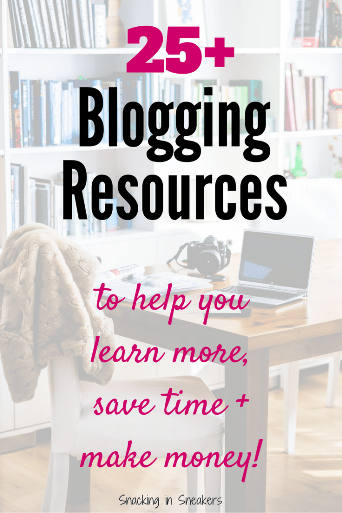 Laptop, camera, and chair with a text overlay that says 25 Blogging Resources
